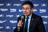 14th January 2020; Camp Nou, Barcelona, Catalonia, Spain; Press Conference for the introduction of the new manager Barcelona manager Quique Setien; Josep Maria Bartomeu FCBarcelona president  - Editorial Use