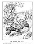 "The Tortoise Goes Wild. The Hares. ""Great heavens! If he goes on like that we shall have to call the race off."" (Germany, Italy, Russia and France as Hares look stunned as British tortoise, Neville Chamberlain, races ahead with £1.5billion in re-armament funding)"