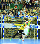 09.06.2019, Max Schmeling Halle, Berlin, GER, DHB,  1.HBL,  FUECHSE BERLIN VS. HSG Wetzlar,<br /> DHB regulations prohibit any use of photographs as image sequences and/or quasi-video<br /> im Bild Silvio Heinevetter (Fuechse Berlin #12), Emil Frend Oefors (HSG Wetzlar #21)<br /> <br />      <br /> Foto © nordphoto / Engler