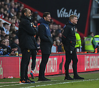 Wolverhampton Wanderers manager Nuno Espirito Santo  (left), Bournemouth assistant manager Jason Tindall (centre), Bournemouth manager Eddie Howe (right) <br /> <br /> Photographer David Horton/CameraSport<br /> <br /> The Premier League - Bournemouth v Wolverhampton Wanderers - Saturday 23 February 2019 - Vitality Stadium - Bournemouth<br /> <br /> World Copyright © 2019 CameraSport. All rights reserved. 43 Linden Ave. Countesthorpe. Leicester. England. LE8 5PG - Tel: +44 (0) 116 277 4147 - admin@camerasport.com - www.camerasport.com