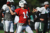 Ryan Fitzpatrick #14, New York Jets starting quarterback, throws a pass during team training camp at Atlantic Health Jets Training Center in Florham Park, NJ on Saturday, Aug. 6, 2016