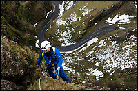 BNPS.co.uk (01202 558833)<br /> Pic: CheddarGorge&amp;Caves/DavidMcGirr/BNPS<br /> <br /> The freezing weather has added fresh impetus to  the annual 'Spring clean' of the huge cliffs at Cheddar Gorge in Somerset this year.<br /> <br /> The 400ft high limestone cliffs have to be scaled by a crack team of Rope Access Technicians to clear them of weeds and loose rocks to protect visitors to the bottom of the historic gorge.