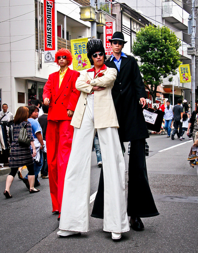 Elvis & friends walk the streets of Sangenjaya, Tokyo during the Street performers festival.