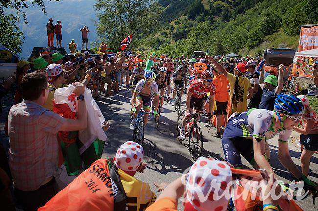 André Greipel (DEU/Lotto-Soudal) experiencing the craziness at the Dutch Corner (nr7) up Alpe d'Huez<br /> <br /> stage 20: Modane Valfréjus - Alpe d'Huez (111km)<br /> 2015 Tour de France