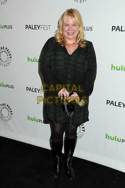 """Julie Plec.PaleyFest 2012 Presents """"The Vampire Diaries"""" held at the Saban Theatre. Beverly Hills, California, USA, .10th March 2012.full length black green  lace print shirt dress tights knee high boots clutch bag .CAP/ADM/BP.©Byron Purvis/AdMedia/Capital Pictures."""