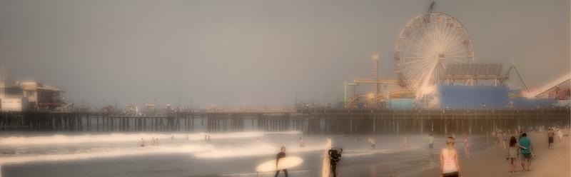 Santa Monica beach and pier. California