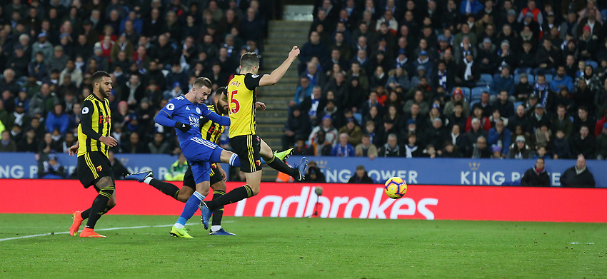 Leicester City's James Maddison shoots past Watford's Craig Cathcart to score his sides second goal <br /> <br /> Photographer Stephen White/CameraSport<br /> <br /> The Premier League - Leicester City v Watford - Saturday 1st December 2018 - King Power Stadium - Leicester<br /> <br /> World Copyright © 2018 CameraSport. All rights reserved. 43 Linden Ave. Countesthorpe. Leicester. England. LE8 5PG - Tel: +44 (0) 116 277 4147 - admin@camerasport.com - www.camerasport.com