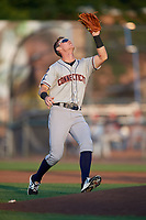 Connecticut Tigers second baseman Cameron Warner (31) catches a pop up during a game against the Auburn Doubledays on August 10, 2017 at Falcon Park in Auburn, New York.  Connecticut defeated Auburn 4-1.  (Mike Janes/Four Seam Images)