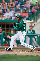 Fort Wayne TinCaps center fielder Jeisson Rosario (18) follows through on a swing during a game against the West Michigan Whitecaps on May 17, 2018 at Parkview Field in Fort Wayne, Indiana.  Fort Wayne defeated West Michigan 7-3.  (Mike Janes/Four Seam Images)