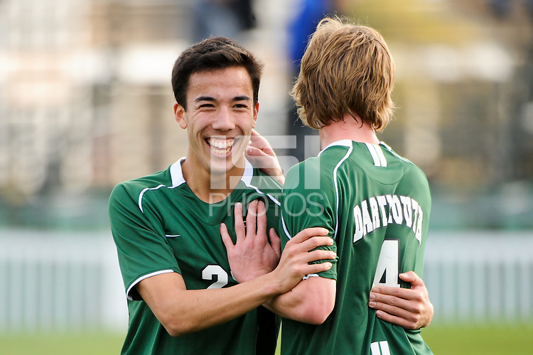 Austin Bowers (27) and Aaron Gaide (4) of the Dartmouth Big Green celebrate after the game. Dartmouth defeated Monmouth 4-0 during the first round of the 2010 NCAA Division 1 Men's Soccer Championship on the Great Lawn of Monmouth University in West Long Branch, NJ, on November 18, 2010.