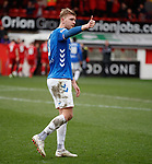 03.03.2019 Aberdeen v Rangers: Joe Worrall to the Rangers support at full time