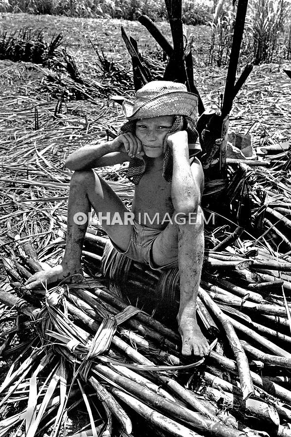Crinança trabalhando em canavial da Zona da Mata. Pernambuco. 1980. Foto de Juca Martins.