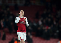 Héctor Bellerín of Arsenal blow a kiss to the fans during the UEFA Europa League round of 16 2nd leg match between Arsenal and AC Milan at the Emirates Stadium, London, England on 15 March 2018. Photo by Vince  Mignott / PRiME Media Images.