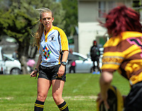 Referee Monique Dalley. 2017 Wellington Secondary Schools Condor Rugby Sevens tournament at Naenae College in Naenae, Wellington, New Zealand on Monday, 23 October 2017. Photo: Dave Lintott / lintottphoto.co.nz