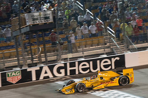 17-18 July, 2015, Newton, Iowa USA<br /> Ryan Hunter-Reay crosses the finish line for the win under the checkered flag <br /> ©2015 Scott R LePage <br /> LAT Photo USA