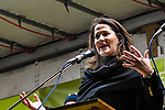 """05.12.2019, Baywa-Gelaende, Memmingen, GER, Bauern-Demonstration in Memmingen, Ueber 4000 Bauern demonstrierten mit fast 3000 Traktoren in Memmingen. Organisiert wurde die Demo von """"Land schafft Verbindung"""". Auf der anschliesenden Kundgebung sprach ua. die bayr. Landwirtschaftsministerin Michaela Kaniber, <br /> im Bild die bayerische Landwirtschaftsministerin Michaela Kaniber (CSU)<br /> <br /> Foto © nordphoto / Hafner"""