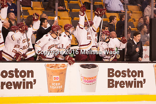 The Eagles celebrate the opening goal in the game. - The Boston College Eagles defeated the Harvard University Crimson 3-2 in the opening round of the Beanpot on Monday, February 1, 2016, at TD Garden in Boston, Massachusetts.