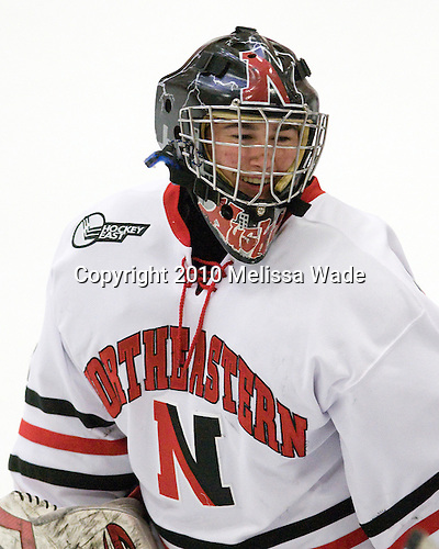 Sydney Arbelbide (NU - 31) - The Northeastern University Huskies defeated the Boston University Terriers in a shootout after being tied at 4 following overtime in their Beanpot semi-final game on Tuesday, February 2, 2010 at the Bright Hockey Center in Cambridge, Massachusetts.