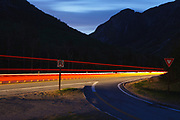 Franconia Notch Parkway in Franconia Notch State Park, New Hampshire during the night.