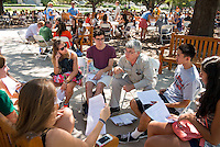 Faculty advisor Daniel Fineman, professor, English and Comparative Literary Studies, meets with  incoming first-years in the Academic Quad during Orientation, August 26, 2013 at Occidental College. (Photo by Marc Campos, Occidental College Photographer)