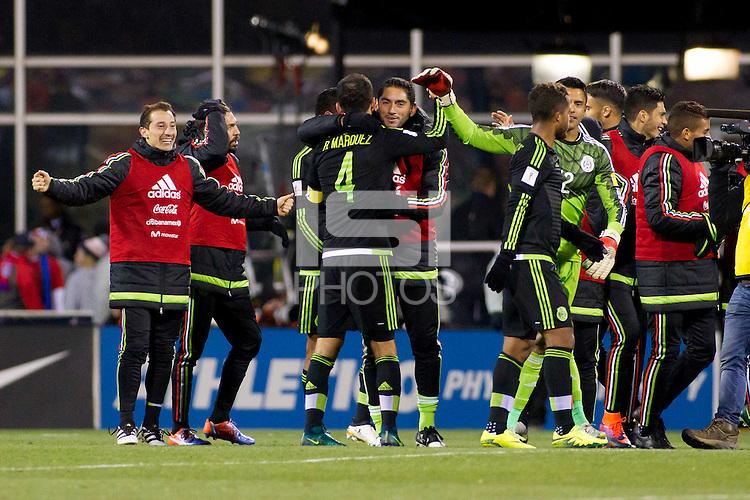 Columbus, Ohio - Friday, November 11, 2016: Mexico celebrates, Rafael Marquez during a USMNT vs Mexico WCQ at Mapfre Stadium. Mexico defeated the USA 2-1.
