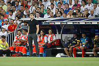 29.08.2012 Spain Supercopa, Real Madrid won (2-1) at Barcelona and was presented on goalaverage to win its ninth Supercopa of Spain) at Santiago Bernabeu stadium. The picture show Tito Vilanova coach of F.C. Barcelona
