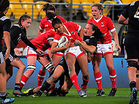 Portia Woodman tries to bring down Magali Harvey during the 2017 International Women's Rugby Series rugby match between the NZ Black Ferns and Canada at Westpac Stadium in Wellington, New Zealand on Friday, 9 June 2017. Photo: Dave Lintott / lintottphoto.co.nz