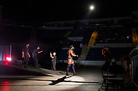 WWE Champion Jinder Mahal enters the arena with his allies, the tag-team duo known as The Singh Brothers, before his match against Randy Orton at a WWE Live Summerslam Heatwave Tour event at the MassMutual Center in Springfield, Massachusetts, USA, on Mon., Aug. 14, 2017. Mahal lost the match.