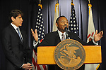 Roland Burris reacts after he is named as Barack Obama's replacement to the U.S. Senate by Illinois Governor Rod Blagojevich in the Thompson Center in Chicago, Illinois on December 30, 2008.