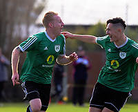 Onehunga's Max Mata (left) celebrates scoring the third goal in the 3-0 victory in the Chatham Cup football semifinal between Cashmere Technical and Onehunga Sports at Garrick in Christchurch, New Zealand on Sunday, 27 August 2017. Photo: Dave Lintott / lintottphoto.co.nz