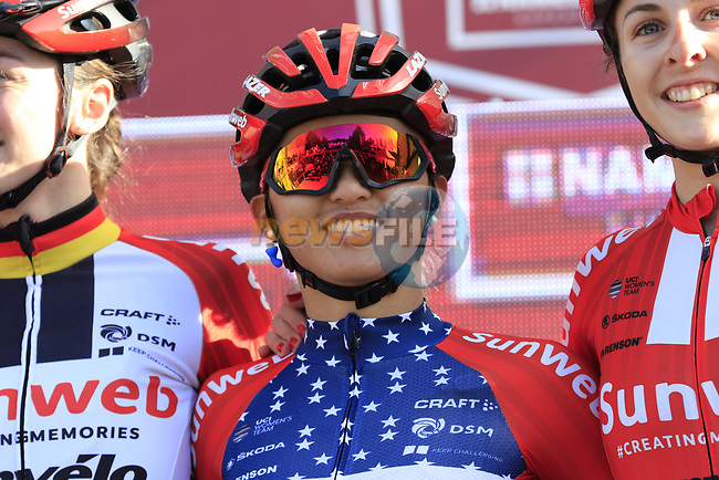US National Champion Coryn Rivera (USA) Team Sunweb Women at sign on before the Strade Bianche Women Elite 2019 running 133km from Siena to Siena, held over the white gravel roads of Tuscany, Italy. 9th March 2019.<br /> Picture: Eoin Clarke | Cyclefile<br /> <br /> <br /> All photos usage must carry mandatory copyright credit (© Cyclefile | Eoin Clarke)