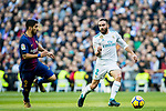 Daniel Carvajal Ramos (R) of Real Madrid competes for the ball with Luis Alberto Suarez Diaz of FC Barcelona during the La Liga 2017-18 match between Real Madrid and FC Barcelona at Santiago Bernabeu Stadium on December 23 2017 in Madrid, Spain. Photo by Diego Gonzalez / Power Sport Images