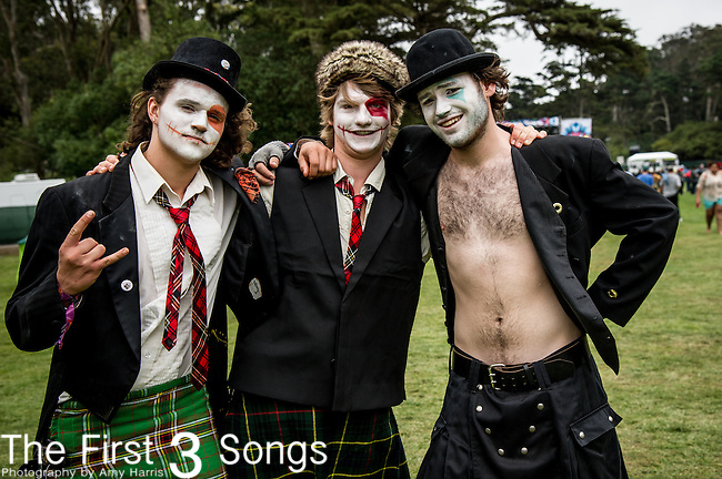 Unidentified people in costume at Outside Lands Music & Art Festival at Golden Gate Park in San Francisco, California.