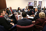 Nevada Senate Democrats Aaron Ford and Joyce Woodhouse, right, meet with a group of higher education students at the Legislative Building in Carson City, Nev., on Monday, March 2, 2015. Lawmakers will be considering a measure that could help ease the burden of student loans. <br /> Photo by Cathleen Allison