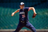 Pitcher Jared Kelley (35) during the Under Armour All-America Game, powered by Baseball Factory, on July 22, 2019 at Wrigley Field in Chicago, Illinois.  Jared Kelley attends Refugio High School in Refugio, Texas and is committed to the University of Texas.  (Mike Janes/Four Seam Images)