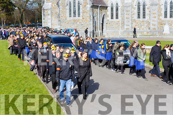 Amy O'Connor remains leave St Marys Cathedral with a guard of honour from Dr Crokes GAA club after her funeral mass on Wednesday