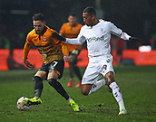 5th February 2019, Rodney Parade, Newport, Wales; FA Cup football, 4th round replay, Newport County versus Middlesbrough; Robbie Willmott of Newport County turns to protect the ball from Rajiv van La Parra of Middlesbrough