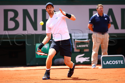 5th June 2017, Roland Garros, Paris, France; French Open tennis championships;  ANDY MURRAY (GRB)  during day nine match of the 2017 French Open on June 5, 2017, at Stade Roland-Garros in Paris, France.