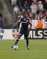 New England Revolution midfielder Joseph Niouky (23) checks his options. The New England Revolution defeated the New York Red Bulls, 3-2, at Gillette Stadium on May 29, 2010.