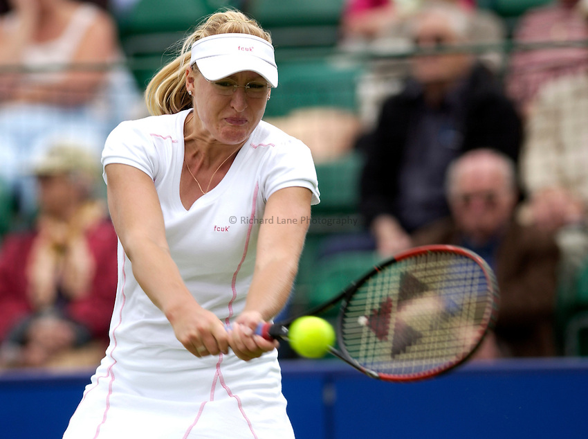 Photo: Daniel Hambury..The Surbiton Trophy. 02/06/2005..Elena Baltacha plays a back hand.