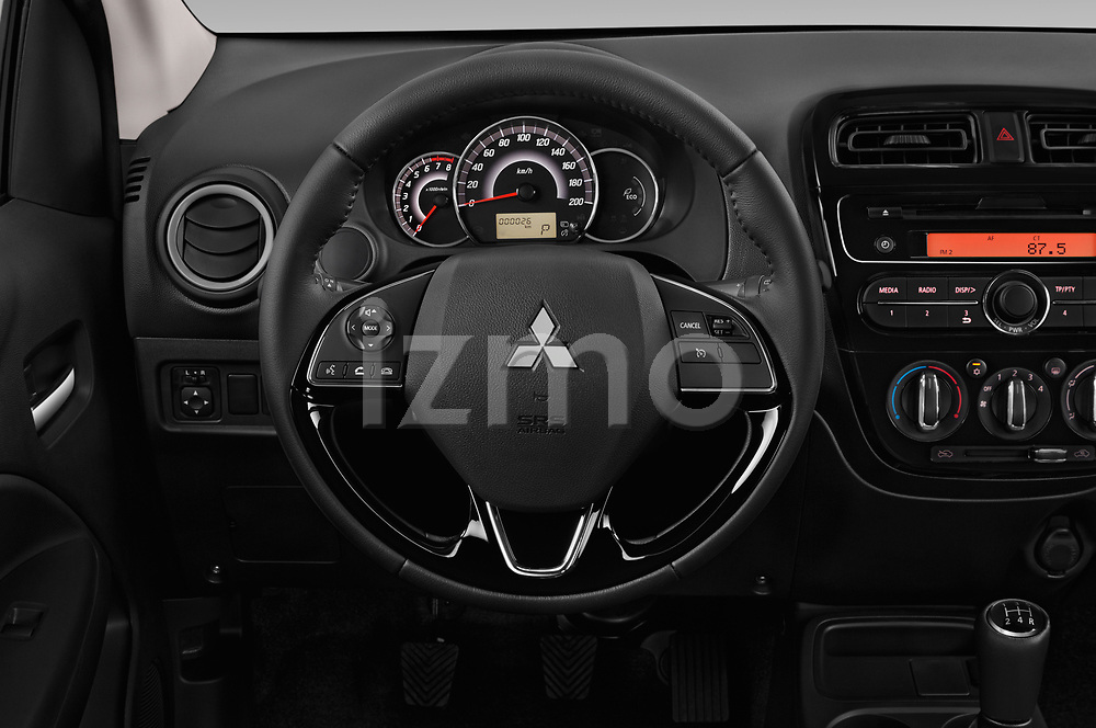 Car pictures of steering wheel view of a 2019 Mitsubishi Spacestar Intense 5 Door Hatchback Steering Wheel