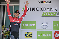 Stage winner Jasper Stuyven (BEL/Trek Segafredo) on the podium. <br /> <br /> Binckbank Tour 2017 (UCI World Tour)<br /> Stage 7: Essen (BE) &gt; Geraardsbergen (BE) 191km