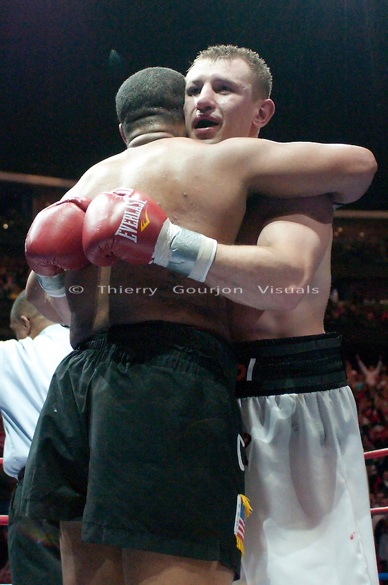 Newark, N.J, February 6th, 2010: Tomasz Adamek and Jason Estradain in the ring at the end of their IBF Heavyweight International Championship fight  at the Prudential Center Arena. Adamek won by unanimous decision and retained his belt. Photo by Thierry Gourjon