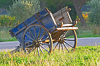 Chateau Mire l'Etang. La Clape. Languedoc. An old wooden farm cart. France. Europe.