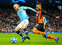 Manchester City's David Silva gets past Shakhtar Donetsk's Maycon<br /> <br /> Photographer Alex Dodd/CameraSport<br /> <br /> UEFA Champions League Group F - Manchester City v Shakhtar Donetsk - Wednesday 7th November 2018 - City of Manchester Stadium - Manchester<br />  <br /> World Copyright © 2018 CameraSport. All rights reserved. 43 Linden Ave. Countesthorpe. Leicester. England. LE8 5PG - Tel: +44 (0) 116 277 4147 - admin@camerasport.com - www.camerasport.com