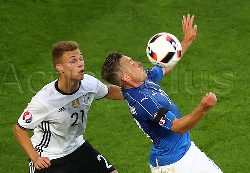 02.07.2016. Bordeaux, France.  Germany's Joshua Kimmich and Italy's Emanuele Giaccherini during the UEFA EURO 2016 quarter final  match between Germany and Italy at the Stade de Bordeaux in Bordeaux, France, 02 July 2016.