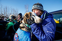 Volunteer vets Caroline Tonozzi and Amy Richardson take a group of dropped dogs to the airport at the Tanana checkpoint during the 2017 Iditarod on Wednesday March 8, 2017.<br /> <br /> Photo by Jeff Schultz/SchultzPhoto.com  (C) 2017  ALL RIGHTS RESERVED