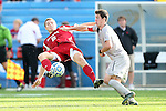 09 December 2012: Indiana's Eriq Zavaleta (2) and Georgetown's Jimmy Nealis (16). The Georgetown University Hoyas played the Indiana University Hoosiers at Regions Park Stadium in Hoover, Alabama in the 2012 NCAA Division I Men's Soccer College Cup Final. Indiana won the game 1-0.