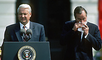 Washington DC., USA, June 17, 1992<br /> President George H.W. Bush with Russian President Boris  Nikoloyevich Yeltsin at remarks on the South lawn of the White House after 2 days of meetings during a summit in Washington DC. President Bush has a cold. Credit: Mark Reinstein/MediaPunch