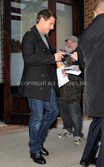 WWW.ACEPIXS.COM . . . . .  ....December 19 2011, New York City....Actor Tom Cruise leaves his downtown hotel on December 19 2011 in New York City....Please byline: CURTIS MEANS - ACE PICTURES.... *** ***..Ace Pictures, Inc:  ..Philip Vaughan (212) 243-8787 or (646) 679 0430..e-mail: info@acepixs.com..web: http://www.acepixs.com